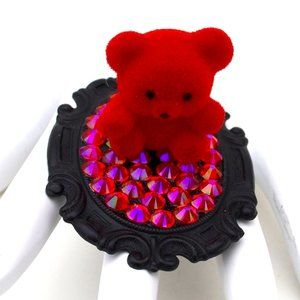RED FUZZY BEAR SWAROVSKI RHINESTONE RING